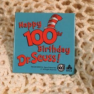 Happy 100th Birthday Dr. Seuss Collectors Pin